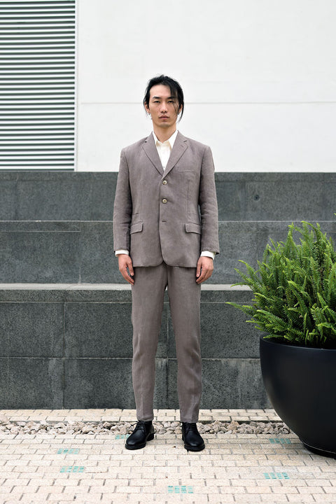 ROSEN-S Daily Suit - Taupe Grey Linen