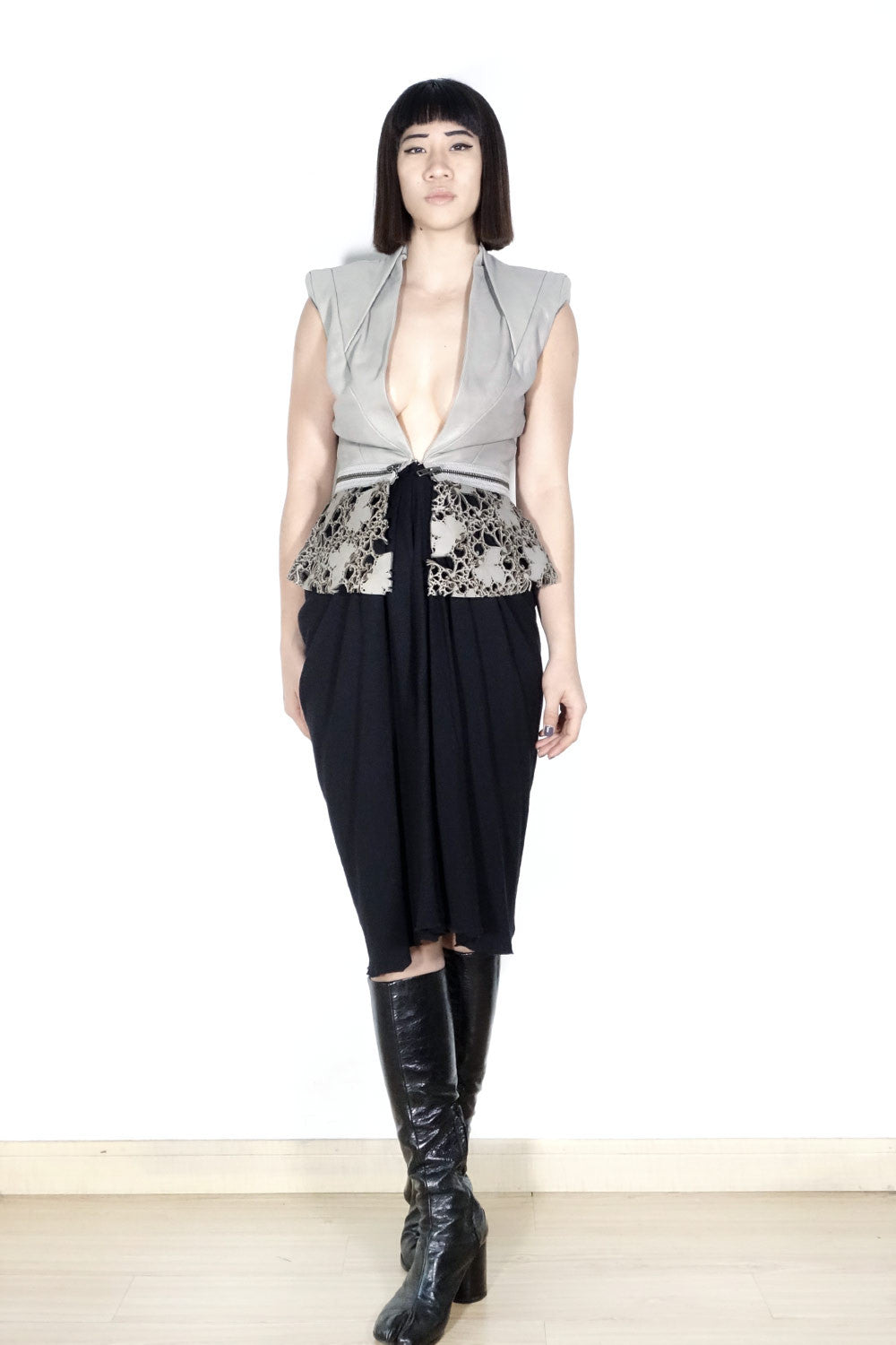 Haider Ackermann FW2010 Laser-Cut Leather Vest Sz 36