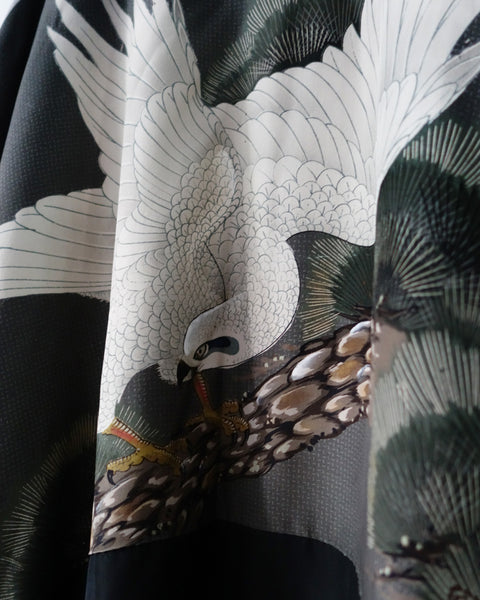 Haori with White Hawk Painting