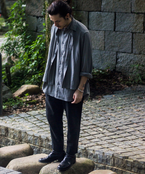 ROSEN Puyi Trousers in Black Crosshatched Linen
