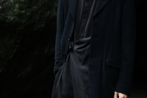 ROSEN Yeats Jacket in Black Crosshatched Linen
