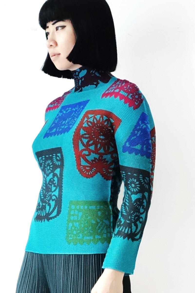 Issey Miyake ME Pleated Graphic Print Blouse