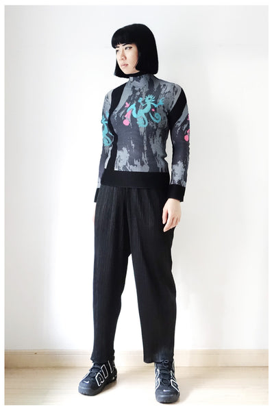 Issey Miyake ME Pleated Abstract Print Blouse