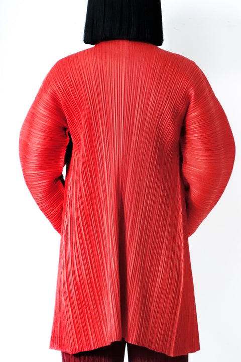 Issey Miyake Pleats Please Balloon-Sleeved Cardigan Sz 3