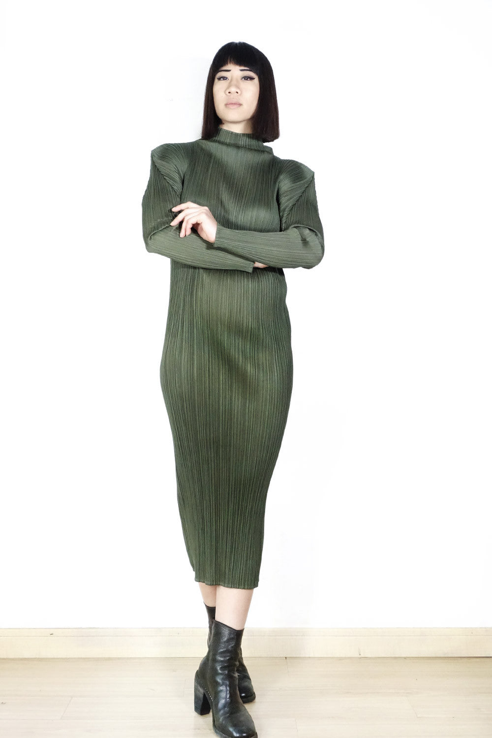 Issey Miyake Pleats Please Turtleneck Dress Sz 2