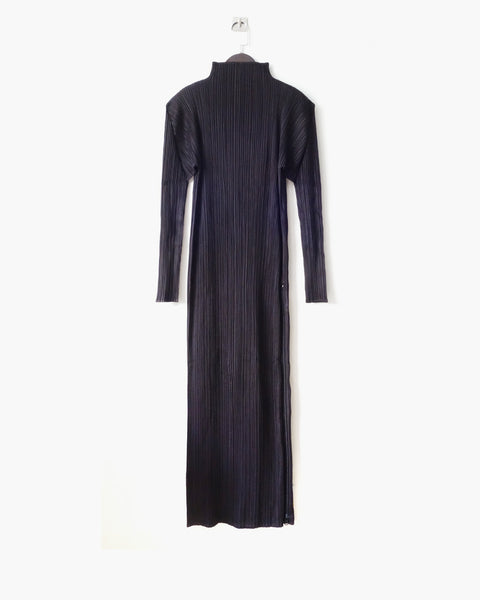 Issey Miyake Pleats Please Zippered Turtleneck Dress Sz 2