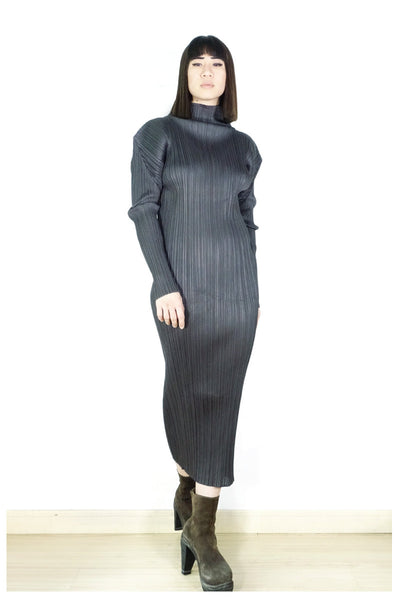 Issey Miyake Pleats Please Turtleneck Dress Sz 3