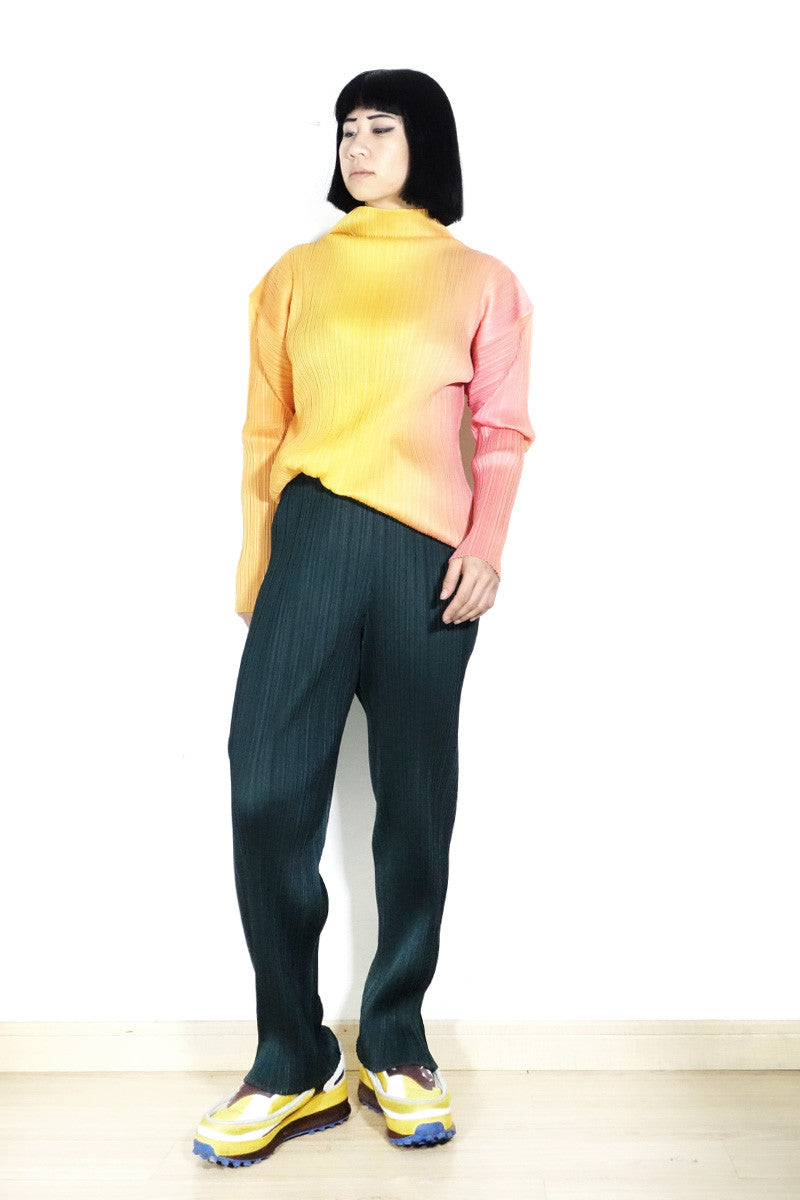 Issey Miyake Pleats Please Ombré Turtleneck Blouse Free Size