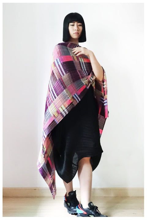 Issey Miyake Pleats Please Checkered Shawl