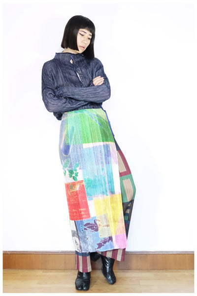 Issey Miyake Pleats Please Printed Skirt Free Size