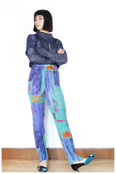 Issey Miyake Illustrated Print Trousers Sz M