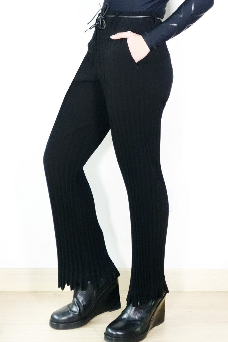 Issey Miyake Pleated Laser-Cut Trousers Sz M