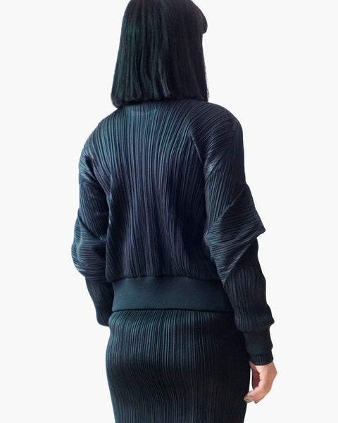 Issey Miyake Pleats Please Sculptural Sleeves Bomber Jacket Sz 3