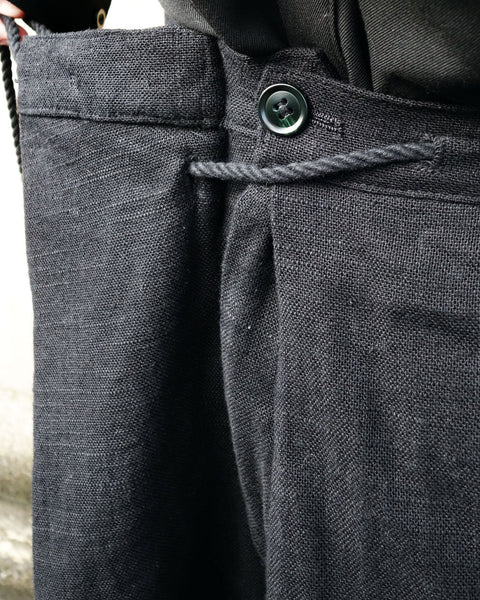 ROSEN Jiro Trousers in Black Linen