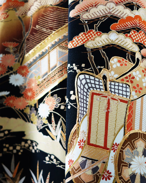 Reconstructed Kimono with Golden Crane Embroidery