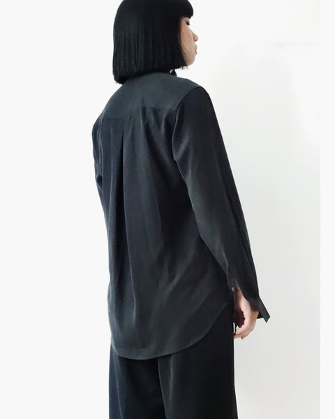 ROSEN Mari Shirt in Black Sandwashed Silk