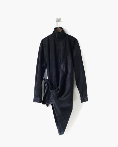 ROSEN Plato Shirt in Black Microsuede