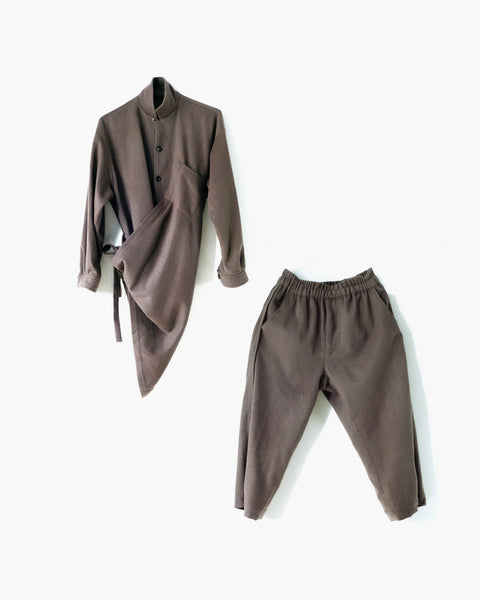 ROSEN Plato Suit in Taupe Wool Cashmere
