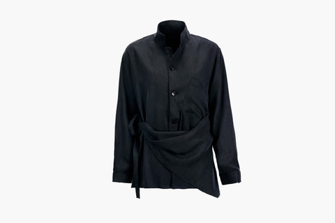 ROSEN Plato Shirt in Midnight Black Sandwashed Silk