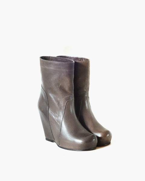 Leather Ankle Wedge Boots Sz 38