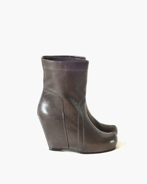Rick Owens Leather Ankle Wedge Boots Sz 38