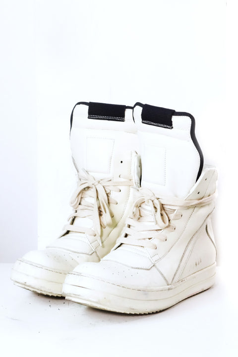 Rick Owens Geobaskets in Milk Sz 37