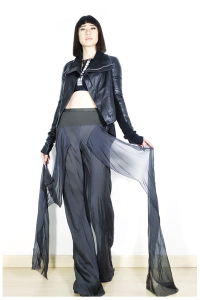 Rick Owens Wide-Leg Fringed Trousers Sz 40