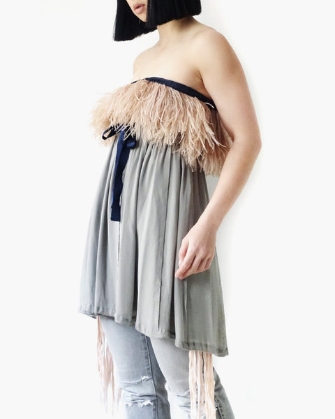 Undercover Ostrich Feather Silk Top Sz 2