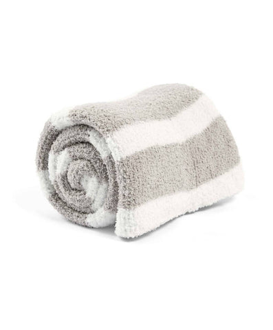 Mamas and Papas Chenille Knitted Blanket Grey & White Stripe