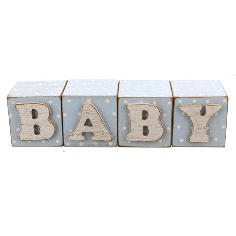 Set of 4 Blue Baby Blocks