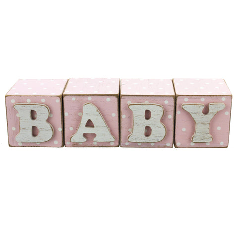 Set of 4 Pink Baby Blocks