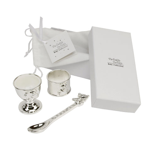 Twinkle Twinkle Silver Plated Egg Cup, Spoon & Napkin Ring