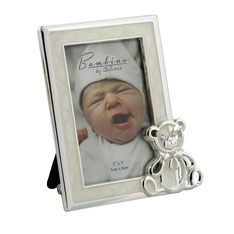 Silver Plated Photo Frame with Teddy Icon