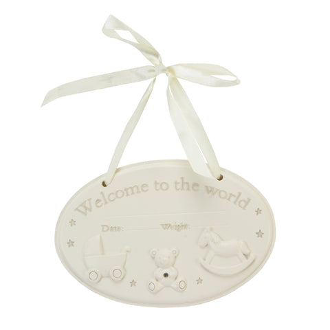 Resin Hanging Welcome to the World Plaque