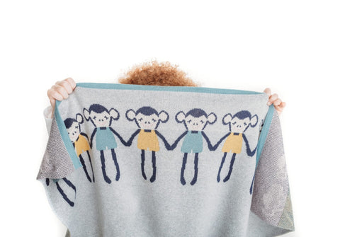 Bizzi Growin Cheeky Monkey knit blanket