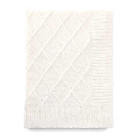 Cable knitted blanket in off white