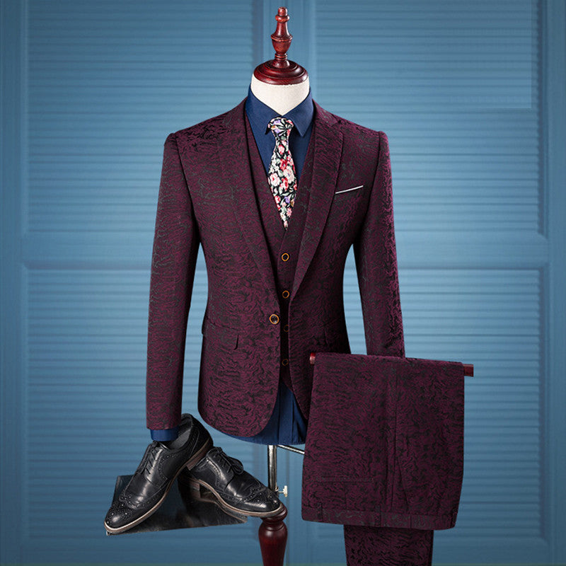 Red Wine Three-Piece Suit