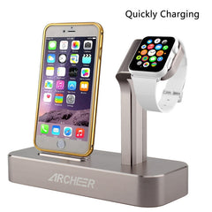 ARCHEER 2 in 1 Watch Stand Charging Station Dock Desktop Charger Adapter For iPhone 6S Apple Watch