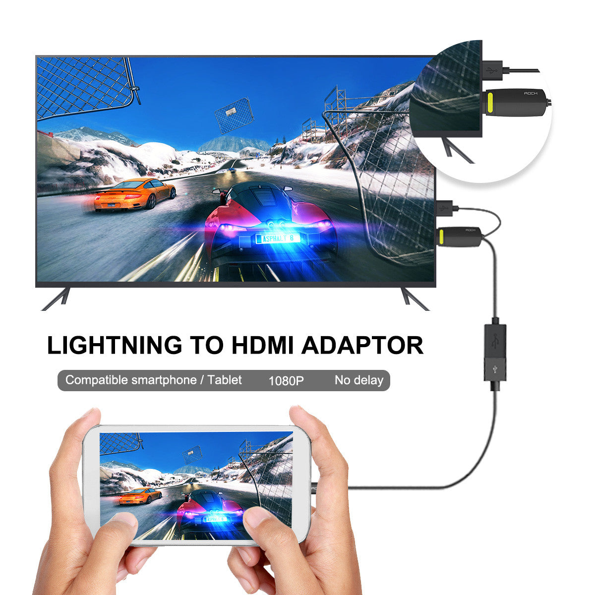 ROCK 1080P Lightning to HDMI Adapter Cable TV Video Audio Converter For iPhone 5 5S SE 6 6S Plus