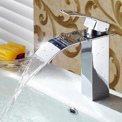 Bathroom Waterfall Sink Faucet Single Lever Mixer Tap Hot Cold Brass Faucets