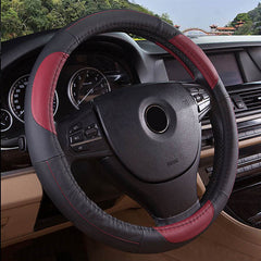 15 Inches Size Genuine Cowhide Leather Steel Ring Wheel Cover for Universal Car