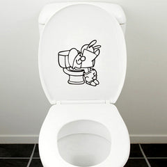 Honana BT-584 Toilet Stool Cover Wall Sticker Bathroom Funny Toilet Sticker Entrance Sign Decal