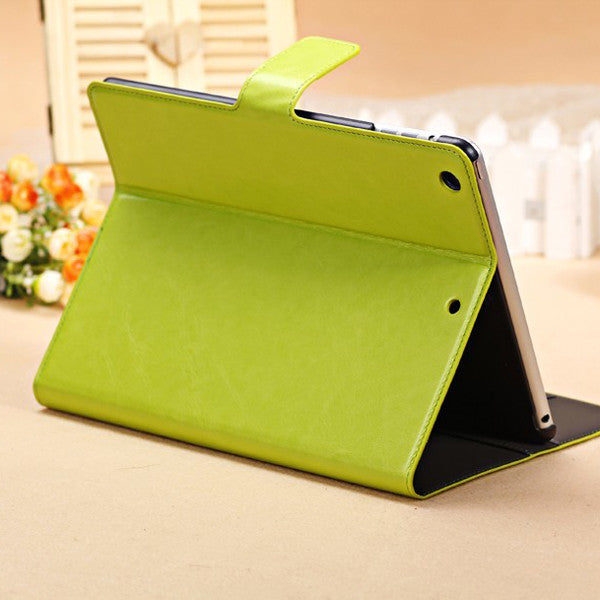 Oil Wax Design PU Leather Stand Case With Card Holder For iPad Air