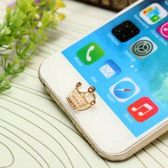3D Cute Pearl Crown Home Button Sticker For iPhone iPad iPod
