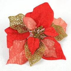 Three Layer Red Gold Powder Flower Christmas Tree Decoration Supplies