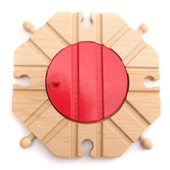 Wooden Train Track Set Circular Turntable Educational Toys