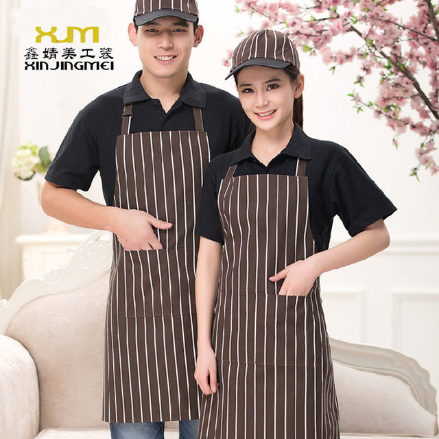New Kitchen Restaurant Hanging Neck Apron Black And White Strip Chef Apron Adjustable Men And Women Overalls