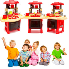 Kids Children Beauty Kitchen Pretend Cooking Toy Play Set With Lights+Sound