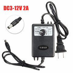 Adjustable AC/DC Adapter 3-12V 2A Power Supply Motor Speed Controller for DIY