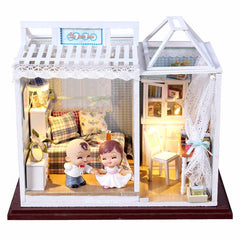 Hoomeda Dollhouse PH003 Miniature DIY Kit With Dolls Lights Dust-proof Cover